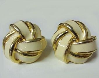 SALE! 80s Vintage Signed GIVENCHY Huge Clip On Earrings Gold Cream White Enamel Statement Earrings 80s Designer Knots