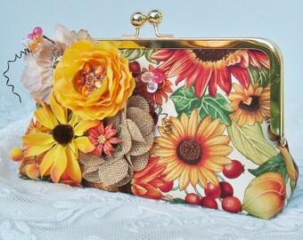 Fall Wedding  / Autumn Bride / Bridesmaid Gift / Fall Handbag / Garden Wedding / Yellow  Sun Flower / Farmhouse Wedding