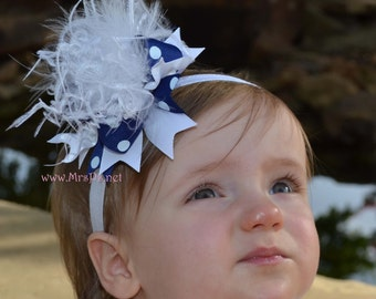Over the top Blue and White Over the Top Mini Bow