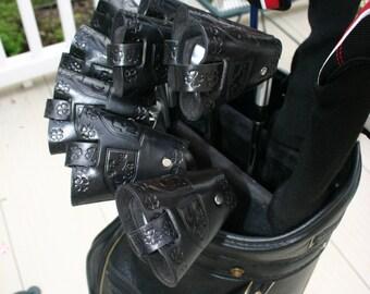 ClubShields (Black)  Custom Made Leather Golf Head Covers