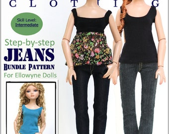 Pixie Faire Liberty Jane Jeans Bundle Doll Clothes Pattern for 16 inch Ellowyne Wilde  Dolls - PDF