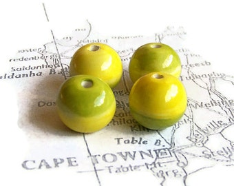 Yellow and Green Beads from South Africa, Handmade African beads, ceramic bead set