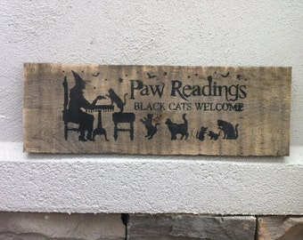 Halloween sign paw readings sign black cat sign primitive wood sign Halloween decoration pallet upcycled