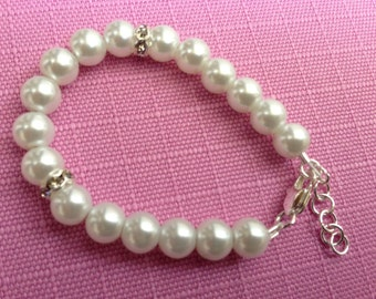 Baby/Infant/Toddler/Child and Adult Bracelet - White or Baby Pink Pearls with Rhondelles