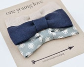 Baby Boy Onesie with 3 Snap-On Bow Ties - Natural, Navy and Grey with Dots Collection