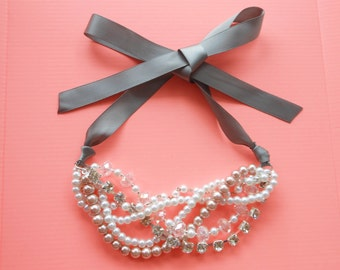 Pearl and Rhinestone Statement Necklace, Bridal Pearl Necklace, Chunky Pearl Necklace with Ribbon