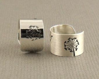 Wide Wish Sterling Silver Ear Cuff 925, Single Dandelion Cartilage Ear Cuff Earring, Sterling Silver Jewellery