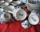 Blue Danube Japan Teacup Coffee Cup Saucer Sugar Bowl Lid Creamer Blue Onion