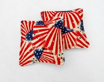 American Flag Flannel Hand Warmers - American Red White Blue Patriotic Flag Reusable Rice Hand Warmers