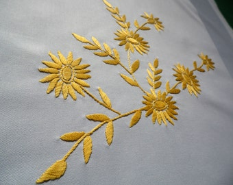 NEW handmade light blue cotton square tablecloth with yellow floral embroidery FLOWERS hand embroidered table cloth