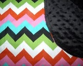 Baby Blanket Receiving Blanket Receiving Blanket Chevron with Minky Newborn Toddler Bigger sizes available Super Soft and Snuggly