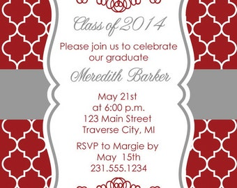 Quatrefoil Graduation Party Invitation -Graduation Announcement - College and High School