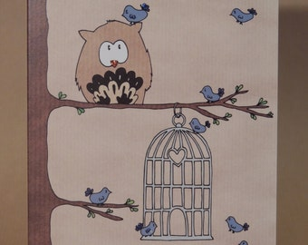 Owl birthday card / greetings card birdcage design