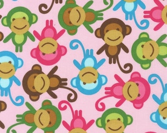 Robert Kaufman Fabric - Urban Zoologie - Spring Monkeys - from FQ to a Metre