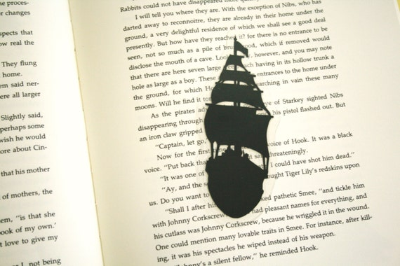 Ship at Full Sail - Hand-cut Silhouette Bookmark, Ship Bookmark, Nautical Bookmark, Pirate Ship