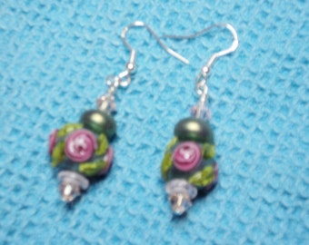 925 Sterling Silver Findings and Ear Wires with Olivine Green Lampwork Beads  with Rose Flowers and Pink Swarovski Crystal Beads
