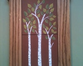 Whimsical Birch Trees  Hand Painted Art Tile, With Hand-Made Craftsman Style Oak Camel Back Frame