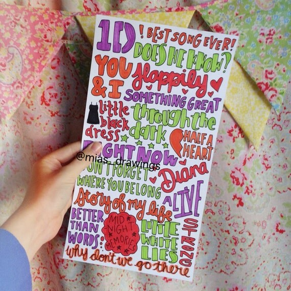 One Direction Midnight Memories song titles by Miasdrawings