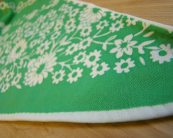 Vintage Green  Floral Triangle Scarf