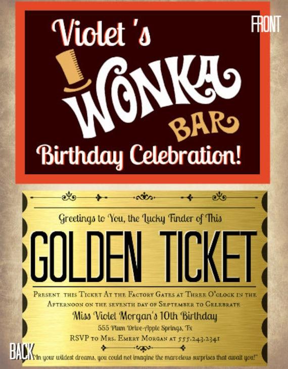 Printable Golden Ticket Chocolate Bar By Designsbydaniellee