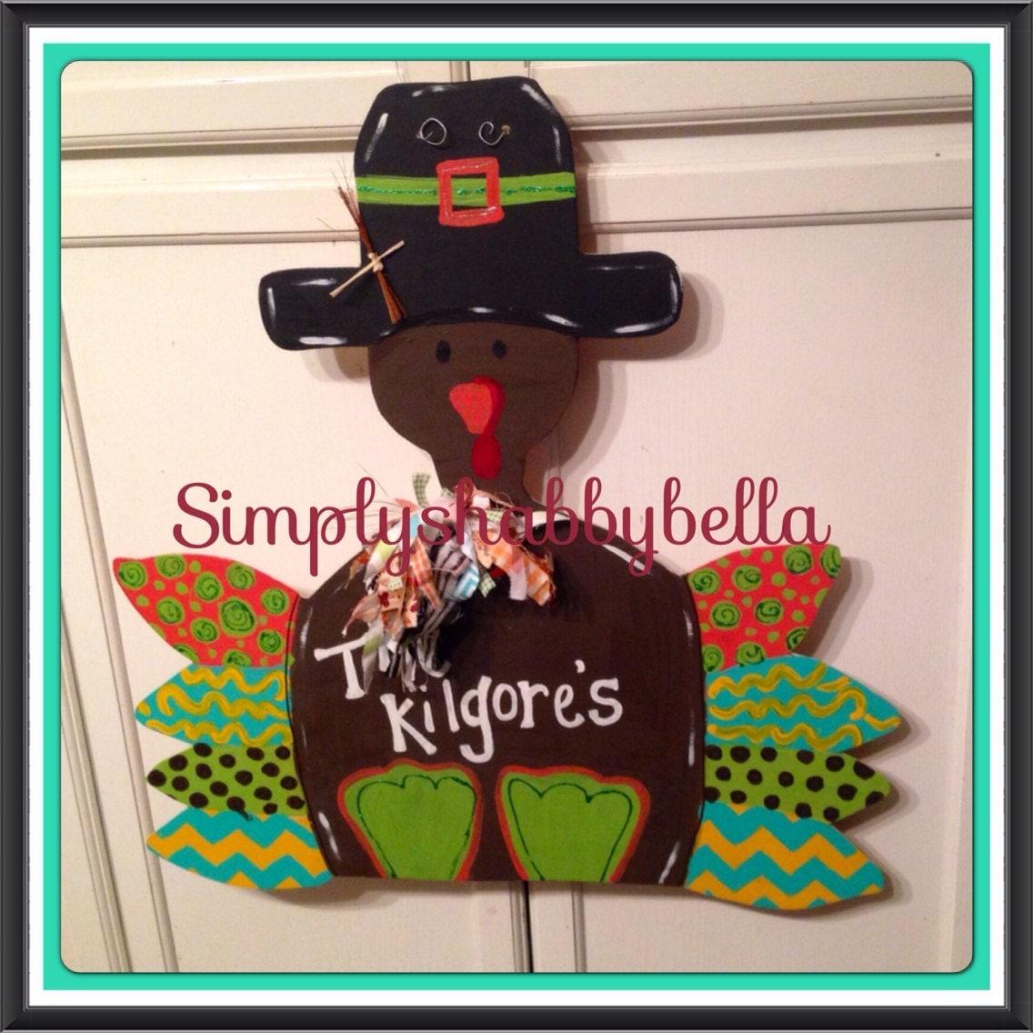 Sale thanksgiving decor turkey door hanger wooden door - Thanksgiving decorations on sale ...