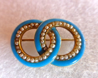 Victorian Gold  Seed pearl and enamel brooch