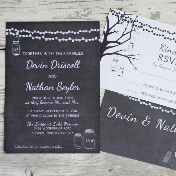 Chalkboard Wedding Invitation, Wedding Invitations  - The Devin - Mason Jars, Chalkboard, strung lights, chalk,  rustic wedding invitation