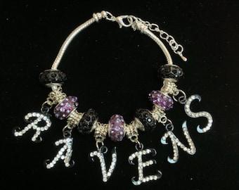 Glitzy Baltimore Ravens Bracelet