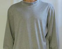 Grey Mock Turtleneck Mens Size S M L XL XXL Big and Tall Extra Long