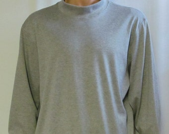Grey Mock Turtleneck Mens Size S M L XL XXL Big and Tall Extra Long