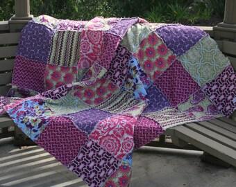 Lap Quilt, Picnic Quilt, Rag Quilt, Cotton Quilt, 2nd Anniversary Gift, Joel Dewberry, Sapphire, fuschia, pink, lavender, blues and green