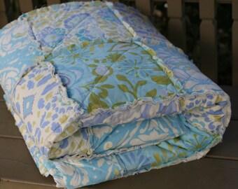 Queen Size Quilt, Rag, Handmade, Designer, Dena Designs Taza in Blue , Aqua, Blue, Taupe, Teal, Lime, Green, Olive