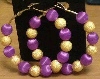Love and Hip Hop and Basketball wives inspired hoop with purple and gold beads