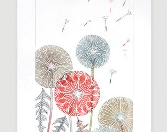 Watercolor painting giclee Print dandelions painting wall decor flower dandelion illustration by VApinx
