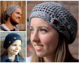 Simple Slouchy Hat pdf crochet pattern INSTANT DOWNLOAD