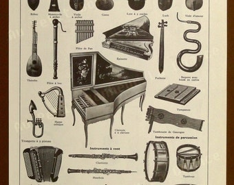 Print - Music instruments- French Illustration - 1963