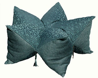 Persian pillow.floor pillow.bluegreen.blue.tufted pillow.star pillow.star shaped.beaded tassels.star.soft button tuft.floor seating.stacking