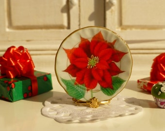 Big Christmas Red Poinsettia Plate for Dollhouse