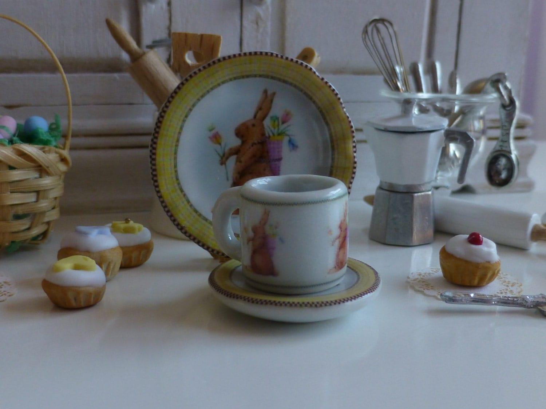 Easter Rabbit Yellow Dollhouse Coffee Mug Plate