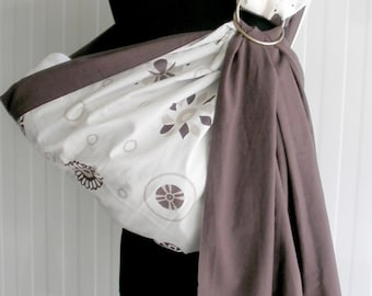 Baby Sling Ring/Baby Carrier/Reversible Baby ring Sling/Baby Wrap/Brown/Еcru/Beige/Baby Gift