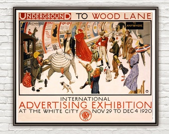 Vintage Poster London Underground to Wood Lane , 1920