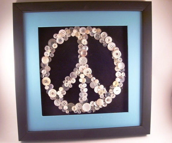 Vintage Button Wall Decor : Vintage button peace sign wall decor framed in a x