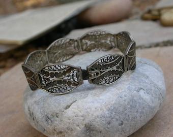 French antique sterling silver filigree  bracelet ornate sterling stamped articulated bracelet