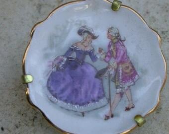 French Vintage Minature plate art deco Porcelain France Limoges romantic Aristocratic signed solid metal frame purple orange tone
