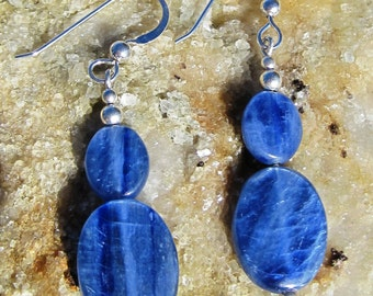 Genuine kyanite earrings with sterling silver French earwires