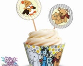 Grey & Citron Baby Shower Cupcake Kit - Print Your Fiesta digital party set - cupcake wrappers, circle toppers, baby toys Free shipping
