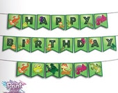 Print Your Fiesta printable banner - Reptile Happy Birthday banner - lizard, chamaleon, crocodile, snake, turtle, frog