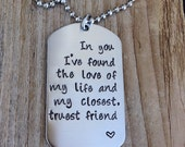 Custom dog tag hand stamped love quote gift for him military couple , anniversary gift stainless steel dog tag