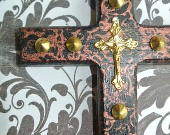 Crucifix-METAL Collection-Elegant Modern Gothic Studded Noir & Copper Metallic Cross-Wall Art-SXS ORIGINAL