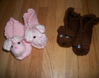 Knitted Children's Animal Slippers